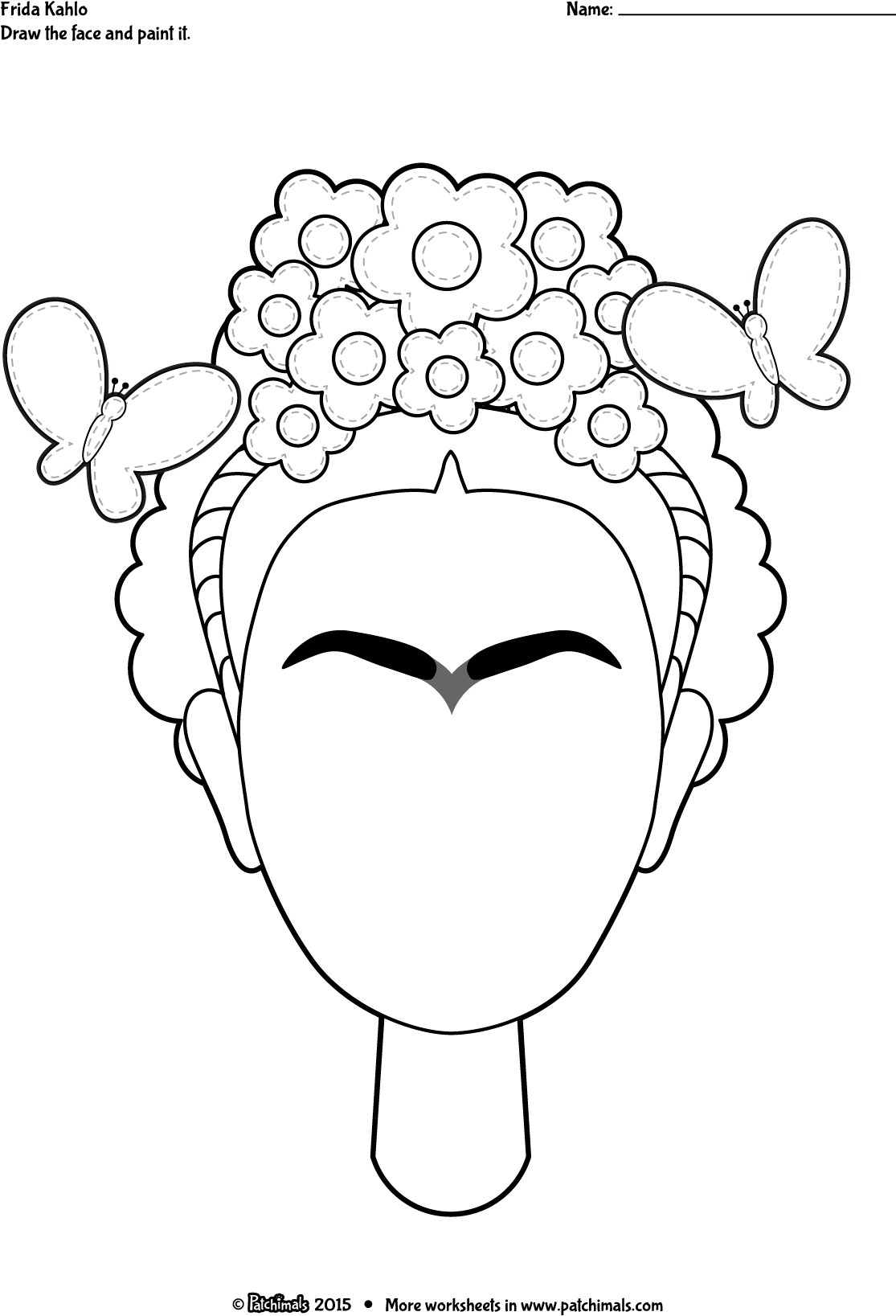 Worksheets Frida Kahlo Worksheets color frida eng png kahlo self portrait