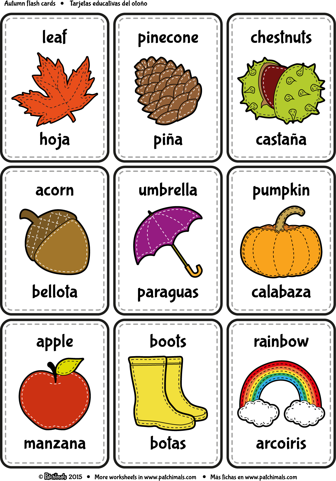 photograph about Spanish to English Flashcards With Pictures Printable referred to as Patchimals - Useful and cultural contents for small children