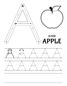 Worksheets Uppercase Tracing patchimals educational and cultural contents for children apps the letter a uppercase