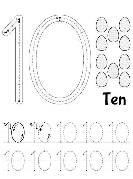 Common Worksheets » Tracing Number 10 - Preschool and