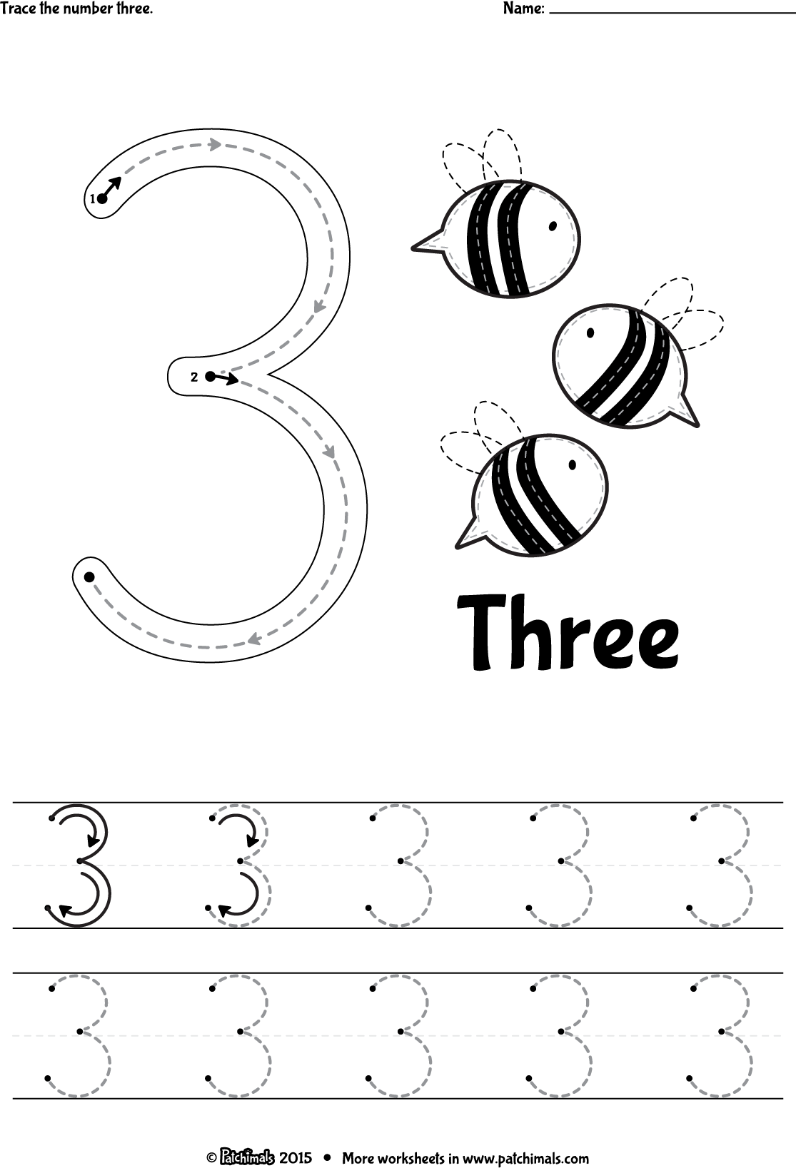 Patchimals Educational and cultural contents for children apps – Number 3 Worksheets